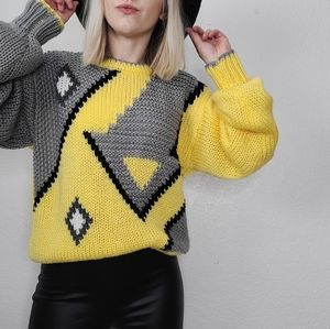 80-90s Vintage Yellow Gray Chunky Knit Sweater